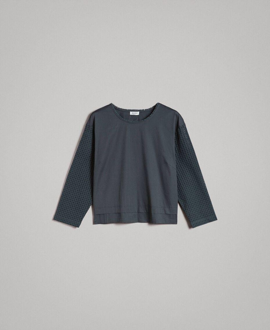 Popeline-Bluse mit Broderie-Anglaise Unterholz Frau 191ST2049-0S