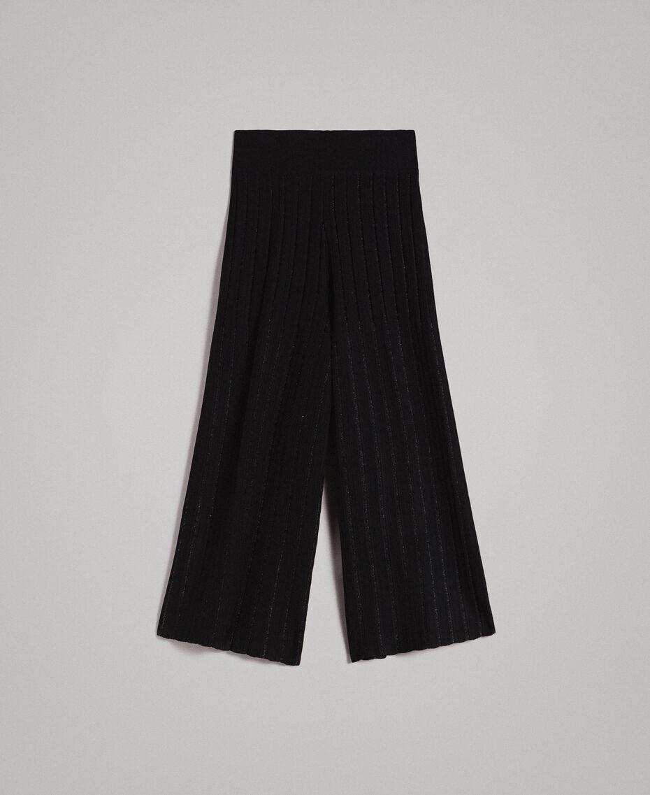 Pantalon cropped en maille orné de bandes en lurex Noir Femme 191TP3251-0S