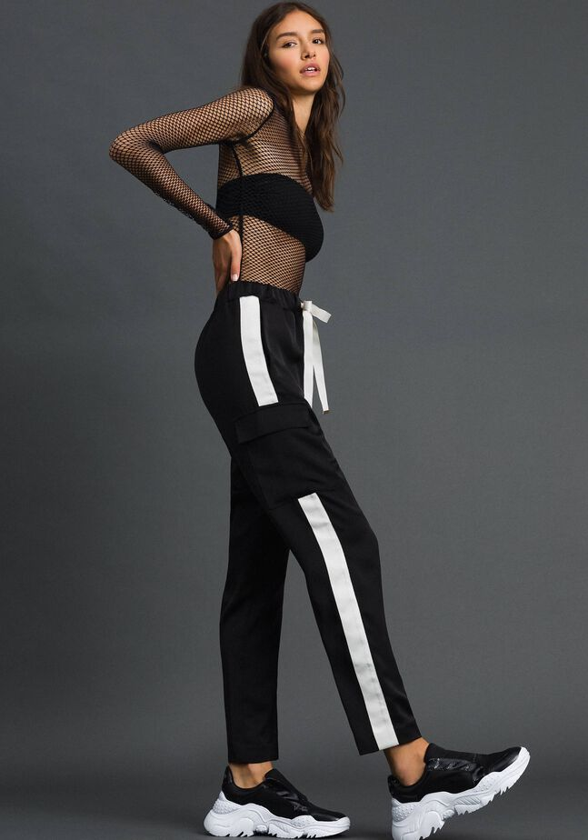 Cargo trousers with contrasting bands