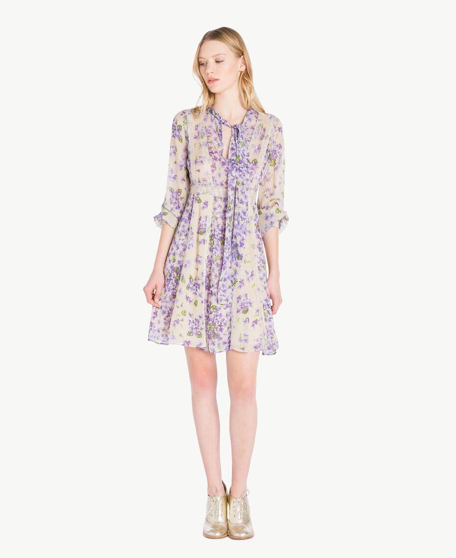 Kleid mit Print Printmix Veilchenlila Frau PS82X1-01