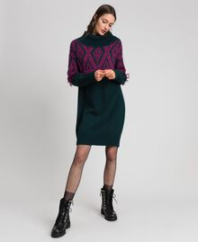 Jacquard knit dress with ethnic motif Ethnic Dark Green / Beet Red Jacquard Woman 192TP3041-02