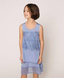 """Kleid aus Crêpe de Chine und Spitze Dunkles """"Ice""""-Blau Kind 201GJ2Q30-02"""