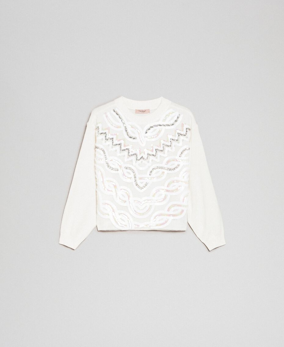 Cashmere blend jumper with embroidery White Snow Woman 192TQ3038-0S