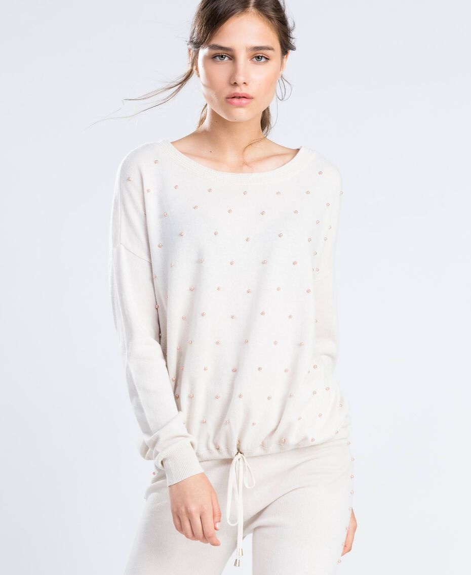 Wool blend jumper with pearls Blanc Woman IA8AKK-0S