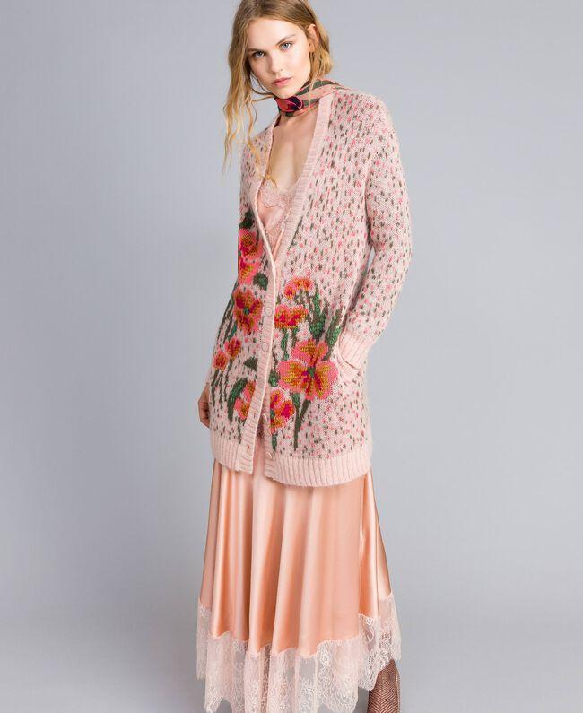 Cardigan long jacquard floral et pois Jacquard Fleurs Rose Pâle Femme TA83CB-01