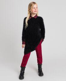 Fur effect knit dress Black Child 192GJ3062-0T