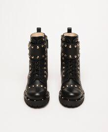 Schnürstiefelette aus Leder mit Nieten Schwarz Frau 999TCP020-05