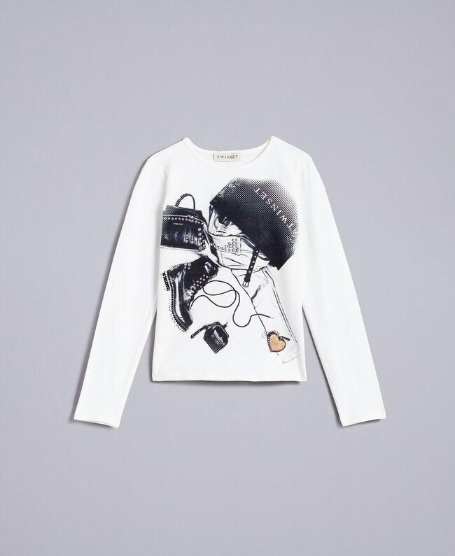 Printed t-shirt with heart Off White Child GA821U-01