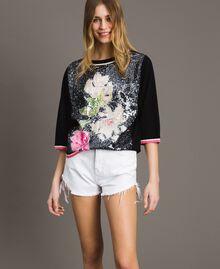 Pailletten-Pullover mit kontrastierenden Verzierungen Multicolour Black / Motiv Schwarze Blumen Frau 191MT3110-01