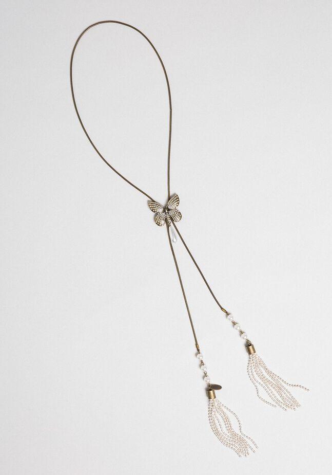 Collier ras-du-cou avec papillon et pompons
