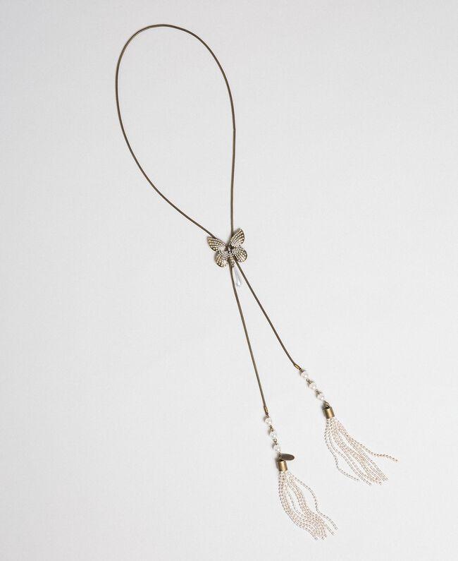 Collana girocollo con farfalla e nappe Ottone Invecchiato Donna 192TA4362-01
