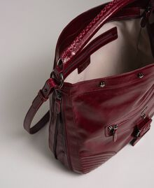 Crackled effect leather hobo bag with studs Beet Red Woman 192TA7236-05