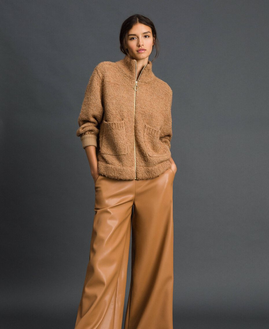 """Giacca in maglia bouclé Beige """"Camel Skin"""" Donna 192LI3KDD-01"""
