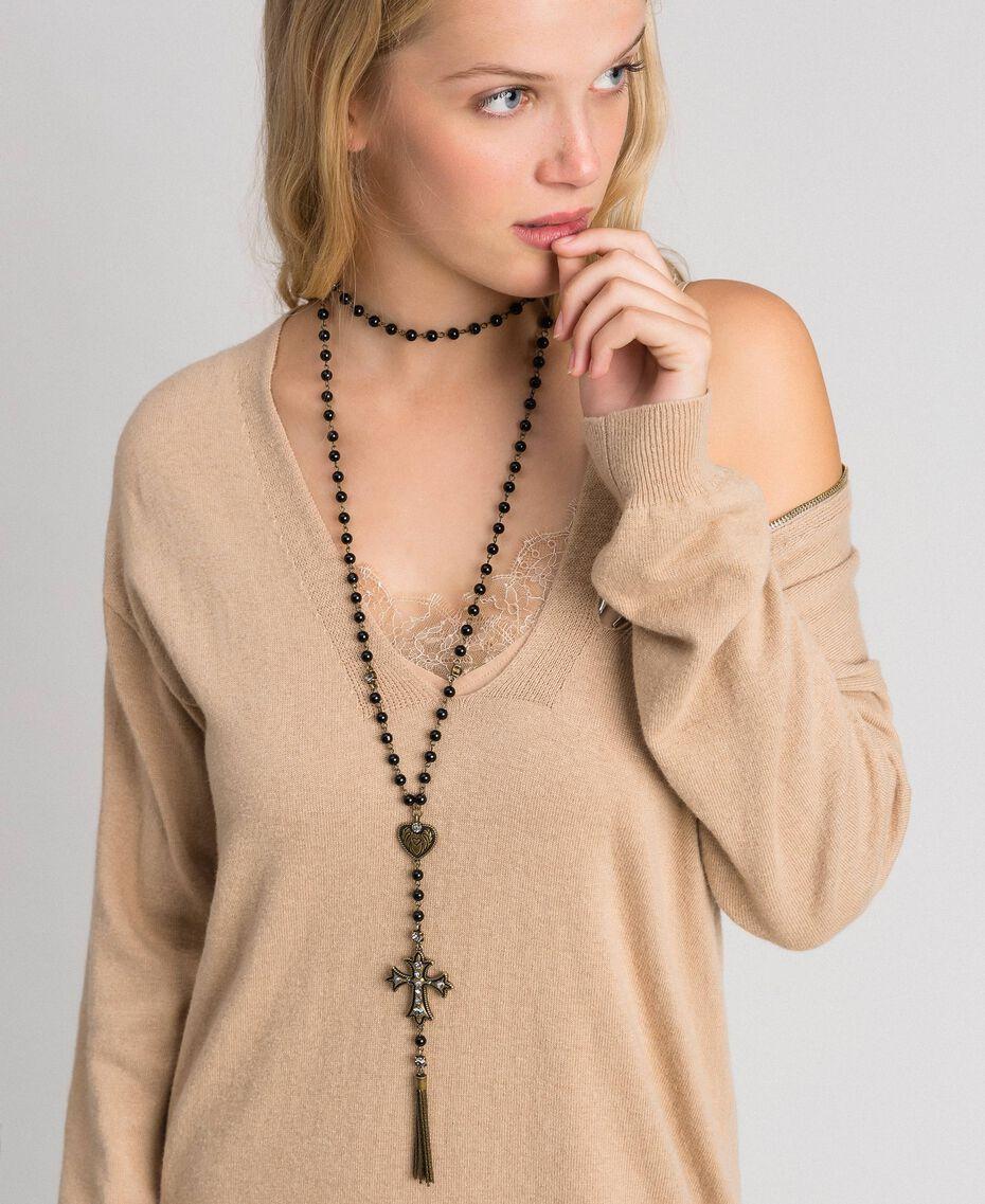 Sautoir avec cœur, croix et pompon Noir Femme 192TO530A-0S