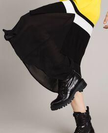 "Long dress with slip Two-tone ""Freesia"" Yellow / Black Woman 191MP3053-04"