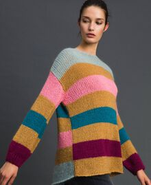 Maxi jumper with multicolour stripes Irish Cream Hazelnut Woman 192MP3221-02