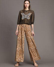 "Animal print palazzo trousers ""Petra Sandstone"" Brown Animal Print Woman 191LM2UEE-04"
