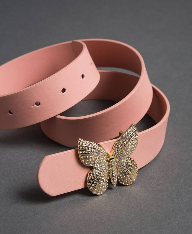 Leather belt with butterfly buckle, regular Mousse Pink Woman 192TA430F-01