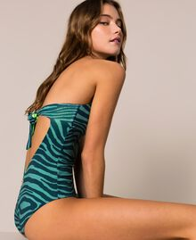 "Printed one-piece swimsuit ""Atlantic Deep"" Green Zebra Print Woman 201LBMGZZ-04"