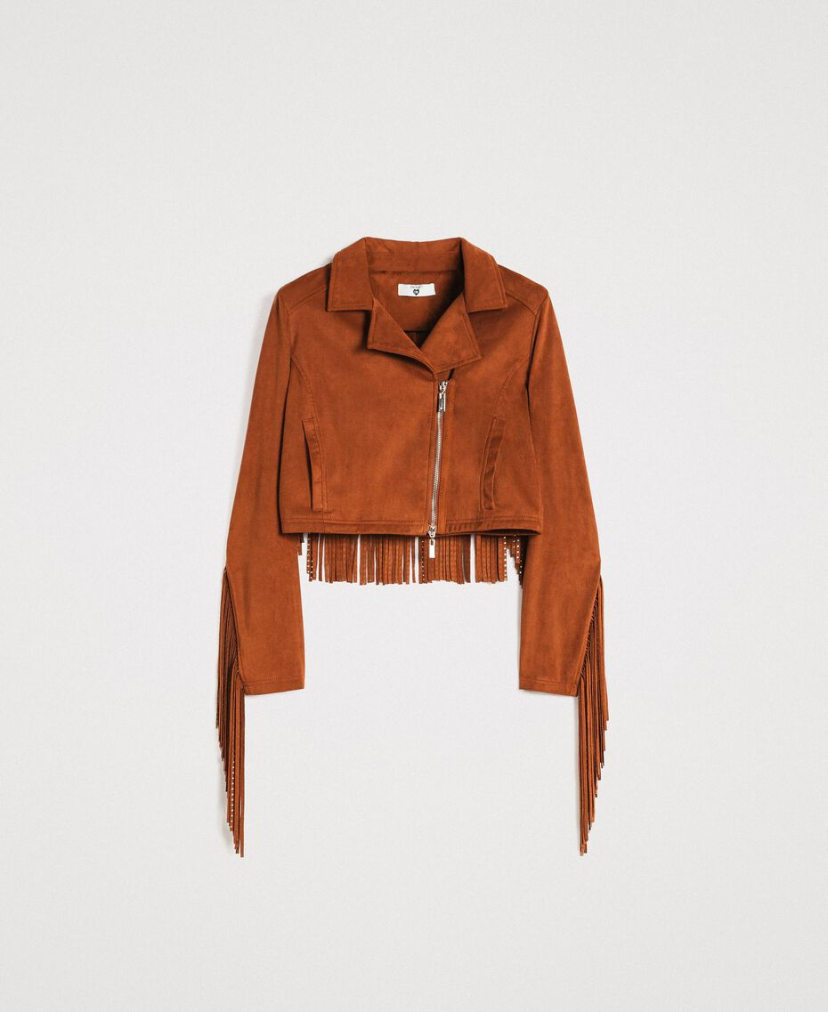 Faux leather biker jacket with fringes Leather Brown Woman 191LB2DBB-0S