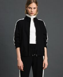 "Bomber jacket with knit inlay Bicolour Black / ""Snow"" White Woman 192TP2120-05"