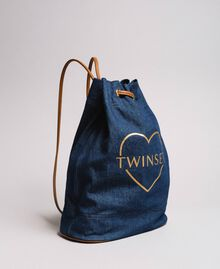 Bucket backpack with logo and heart Dark Denim Woman 191LB4ZPP-01