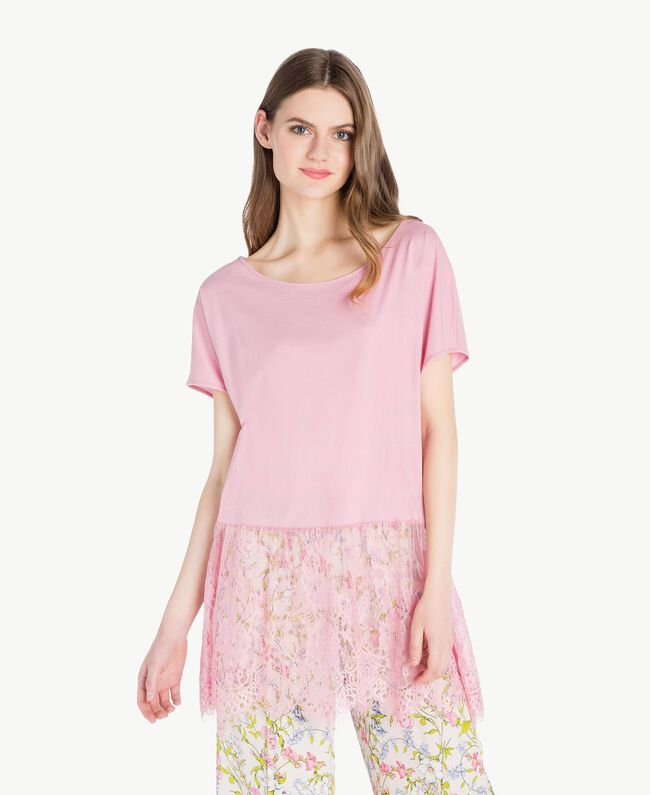 Maxi T-shirt with lace Hydrangea Pink Woman PS82HD-01