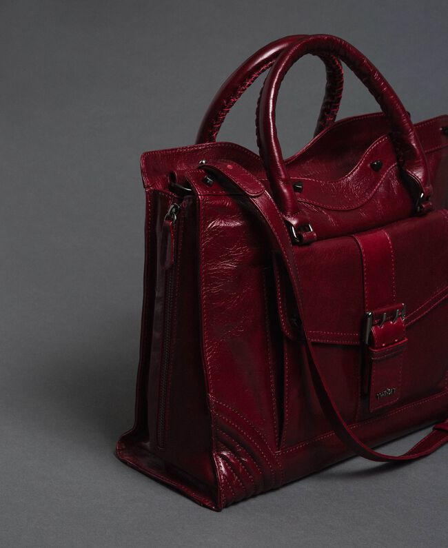 Crackled effect leather shopper Beet Red Woman 192TA7235-01