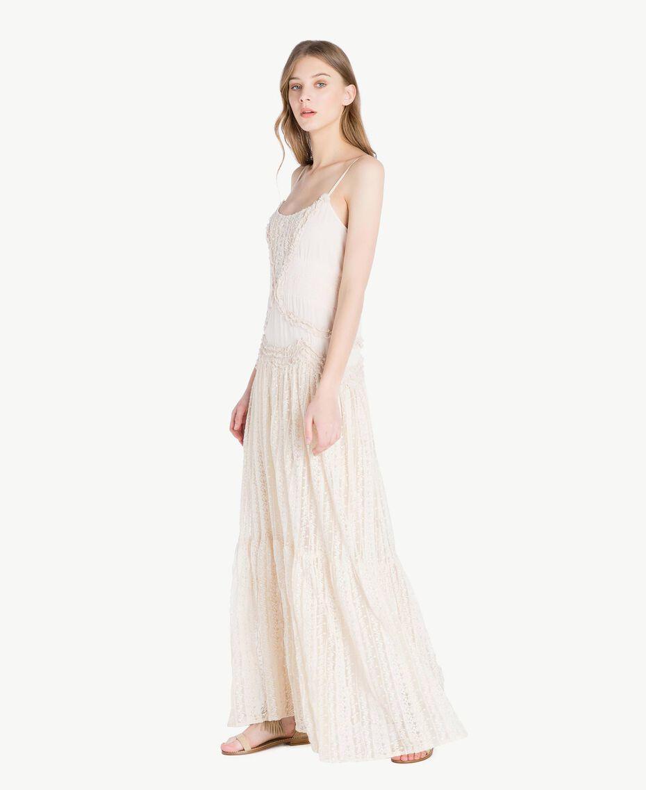 Kleid aus Musselin Perlmutt Frau TS82CE-02
