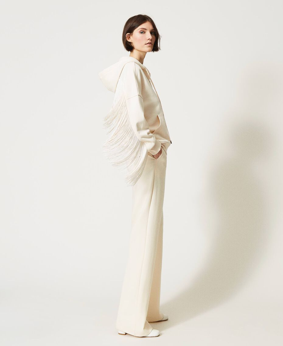 Sweat avec fermeture éclair et franges Blanc Crème Femme 202TP265E-02