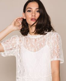 Lace blouse with flounce Black Woman 201ST2150-01