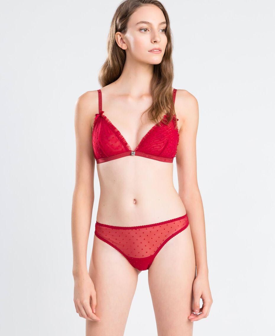 String en tulle à pois floqués Rougeâtre Femme LA8KYY-0S