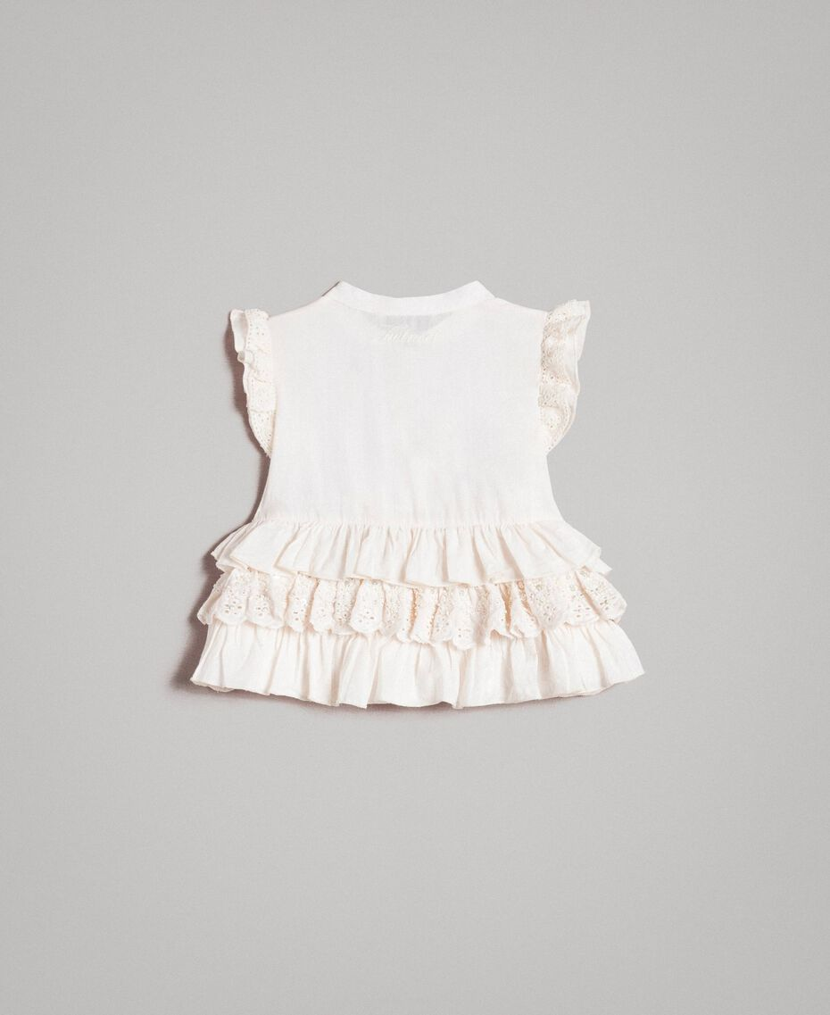 Cotton top with broderie anglaise flounces Pale Cream Child 191GB2571-0S