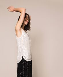 Full sequin and crystal bead top Ivory Woman 201TP2052-05