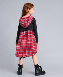 Robe en molleton et tissu à carreaux Bicolore Gris Chiné / Rouge Carreaux Coquelicot Enfant GA8243-04