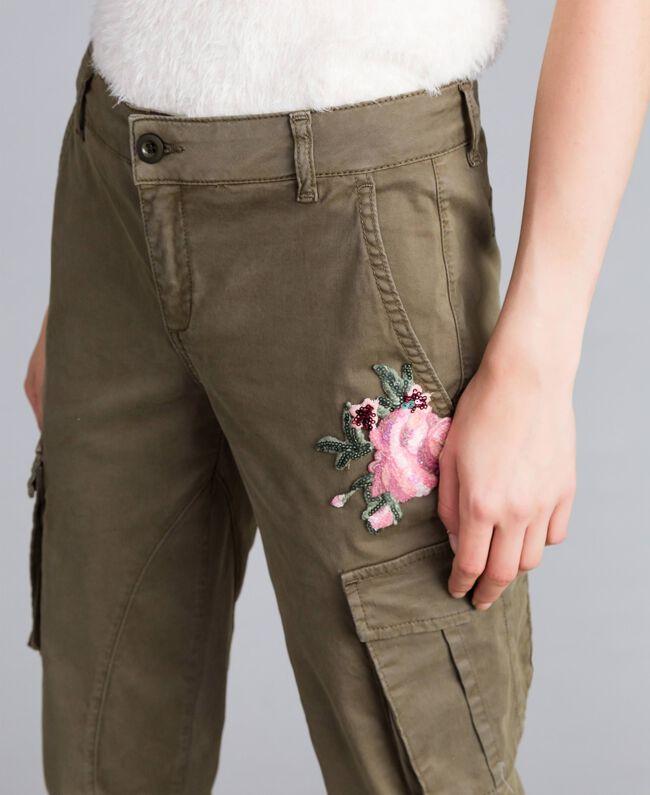 Pantalon combat slim en coton Vert Alpin Femme JA82ED-04