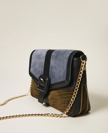 """Large Rebel suede and smooth leather shoulder bag Multicolour Ash Light Blue / """"Olive Green"""" Woman 202TB7052-01"""