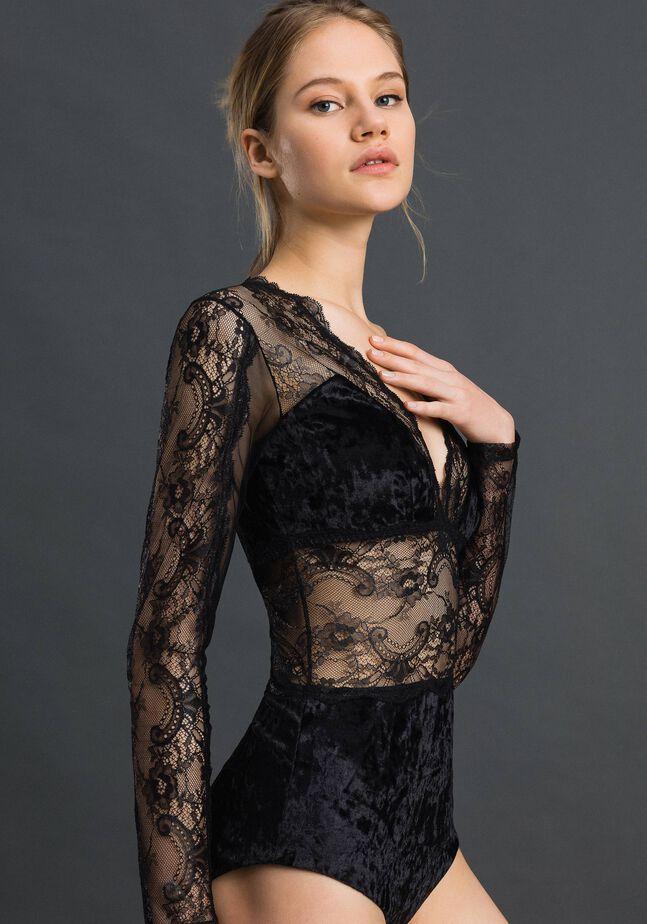 Laminated lace and velvet bodysuit