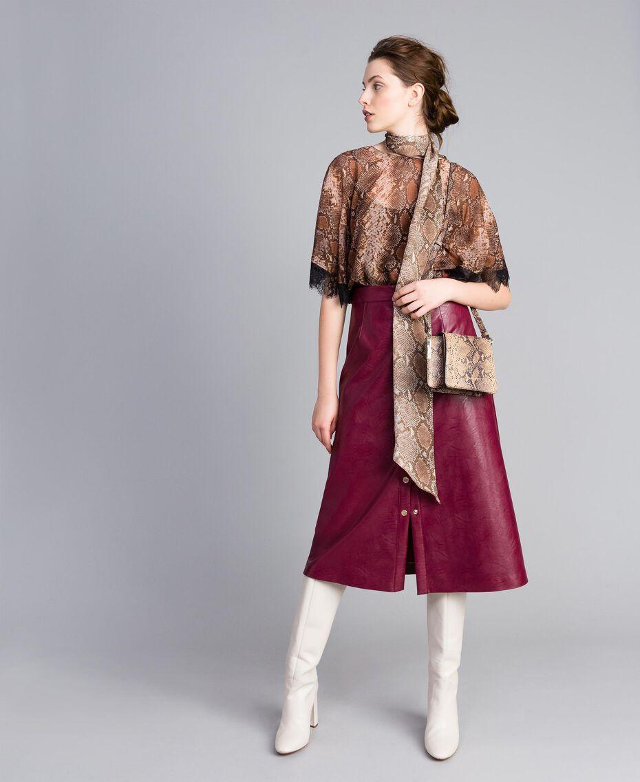 Sac à bandoulière en cuir animalier Imprimé Camel Serpent Femme AA8PG1-0T