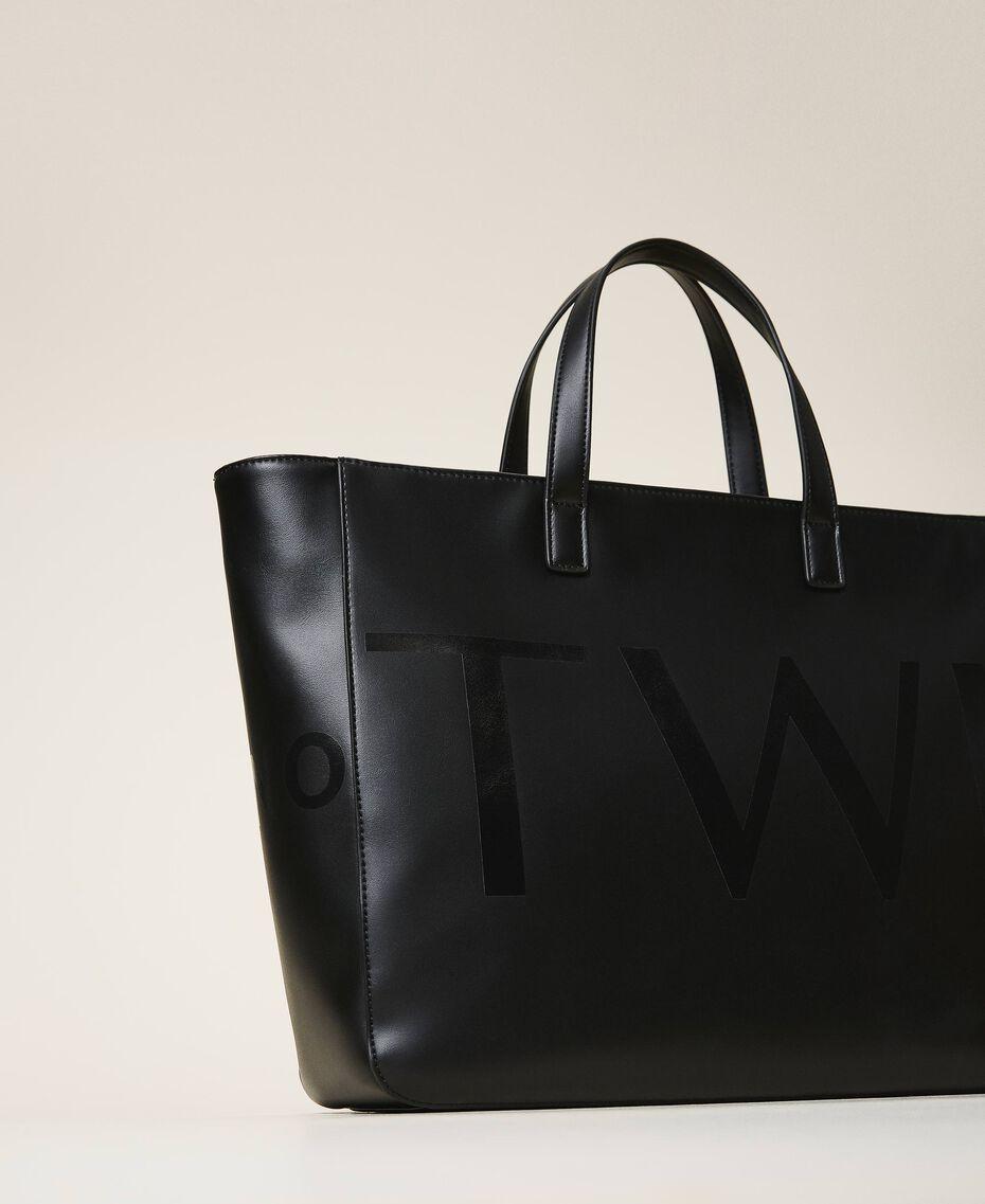 Shopper with maxi logo Black Woman 202TB7220-03