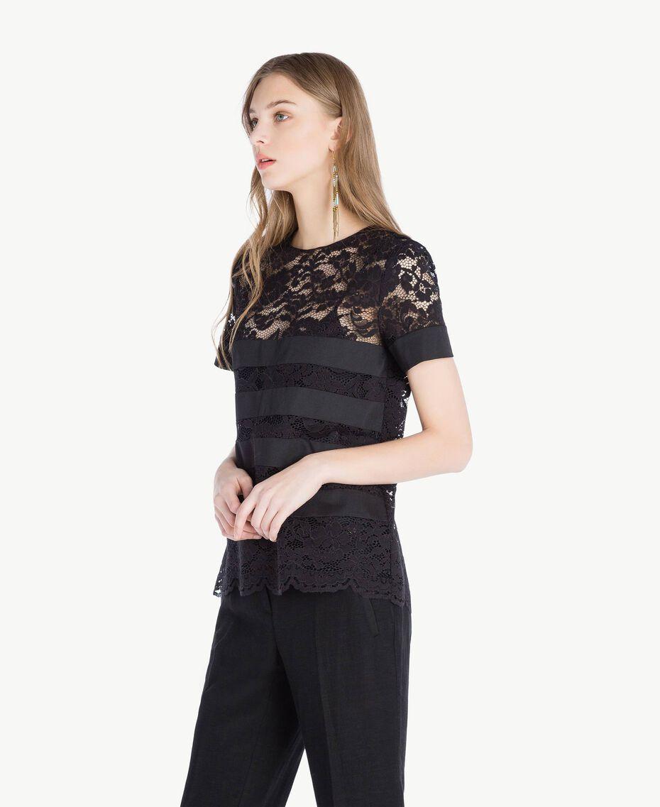 T-shirt dentelle Noir Femme TS828Q-02