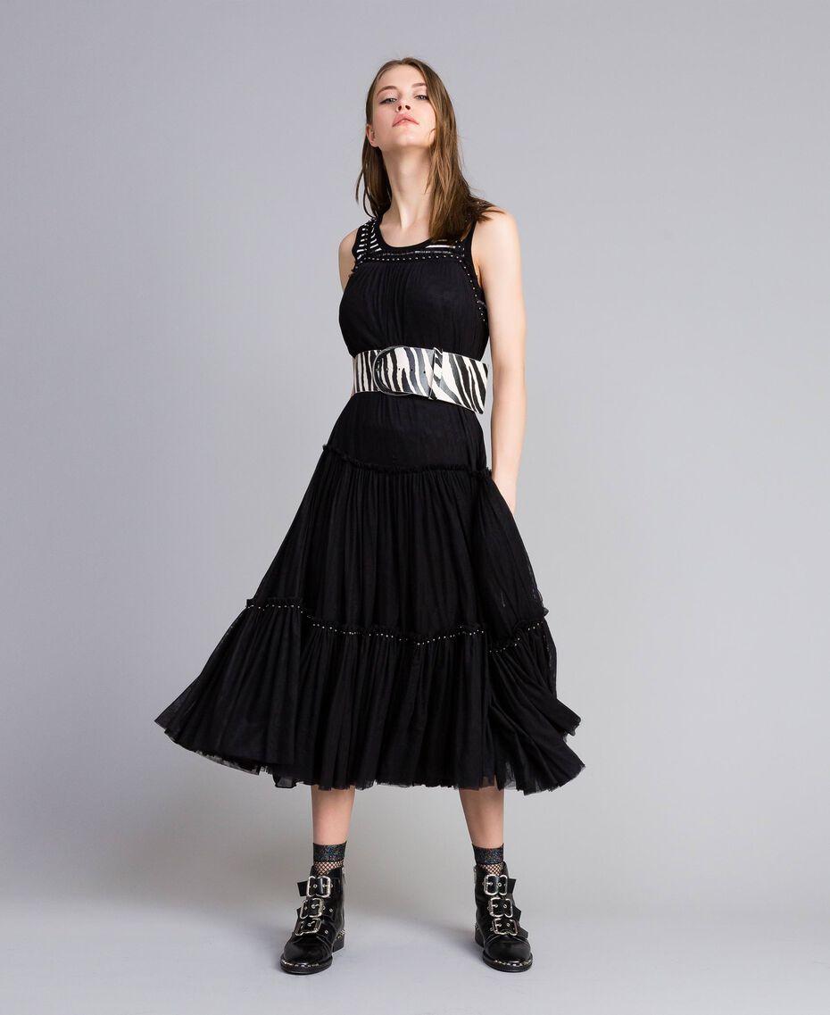 Robe volantée en tulle Noir Femme JA82MA-0T