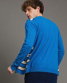 "Crêpe cotton striped cardigan Multicolour Bay Blue / ""Blackout"" Blau / Opaque White Man 191UT3032-03"