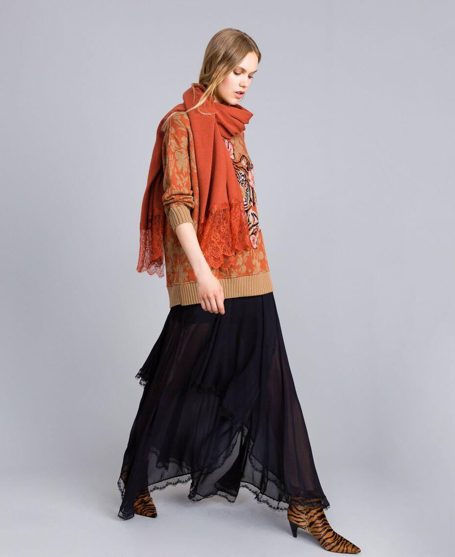 Maxi wool and jacquard lurex jumper Flower and Tiger Jacquard Woman TA83Z1-0T
