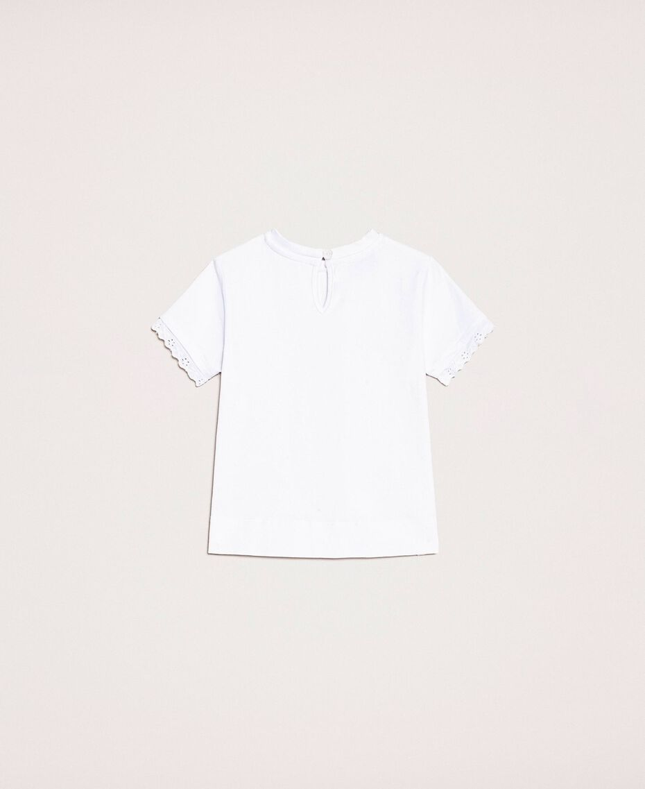 """T-shirt with broderie anglaise embroidery """"Papers"""" White Child 201GB2230-0S"""
