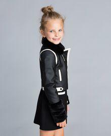 Two-tone faux leather jacket Bicolour Black / Off White Child GA82BU-02