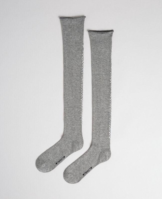 Overknee-Strümpfe mit Ziersteinchen Grau Melange Frau 192TA4320-01