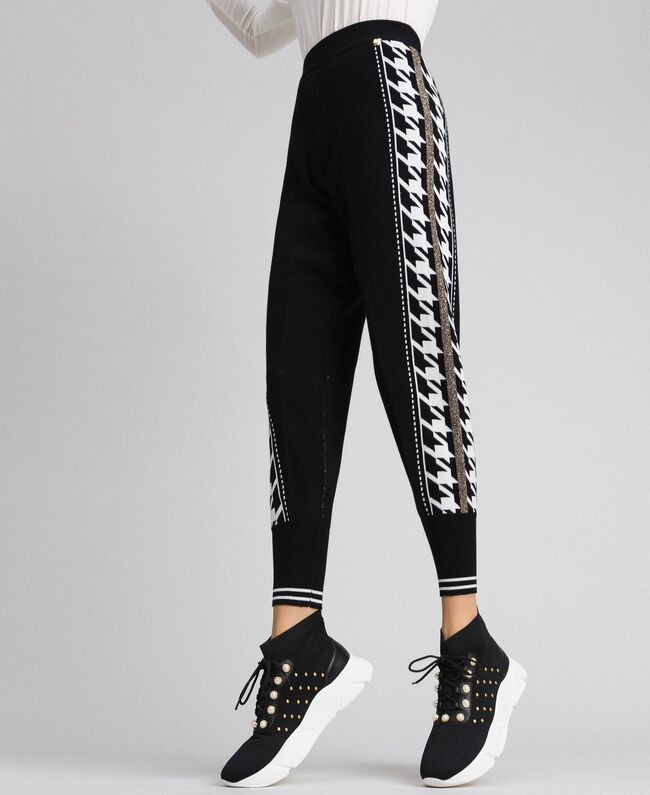 """Jogging trousers with lurex band on the sides Black / """"Vanilla"""" White Woman 192MT3111-01"""