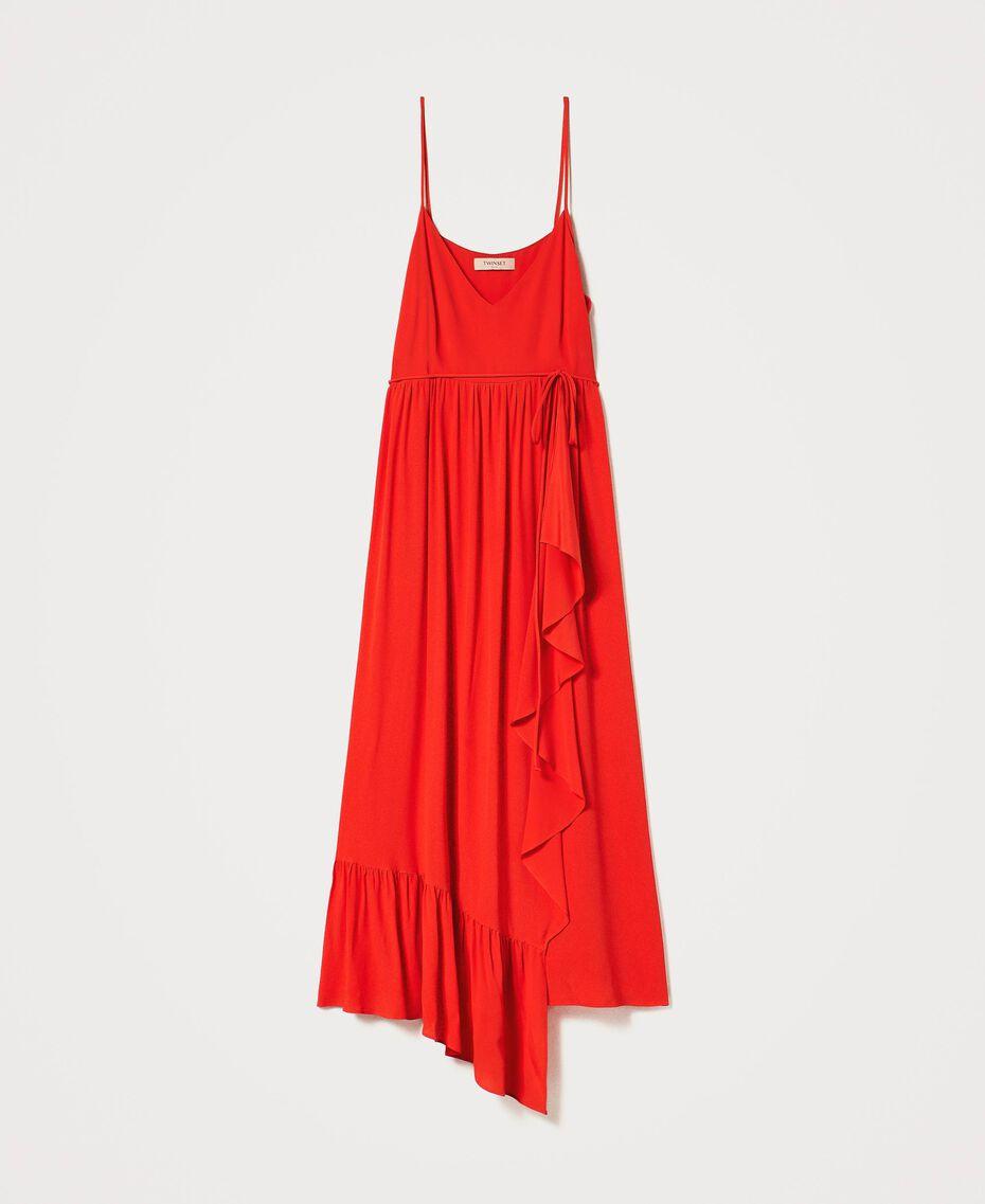 """Long silk blend dress """"Coral"""" Red Woman 211TT2142-0S"""