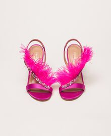 """Satin sandals with feathers """"Jazz"""" Pink Woman 999TCP032-05"""
